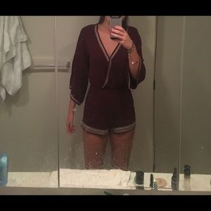Maroon long sleeve romper